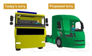 New pedestrian and cycle friendly HGV design